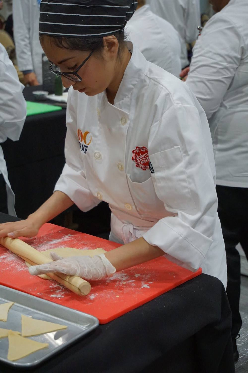 student making dough