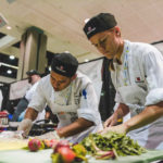 students making food at event