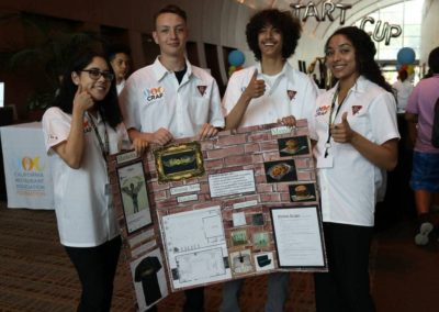 students holding their project