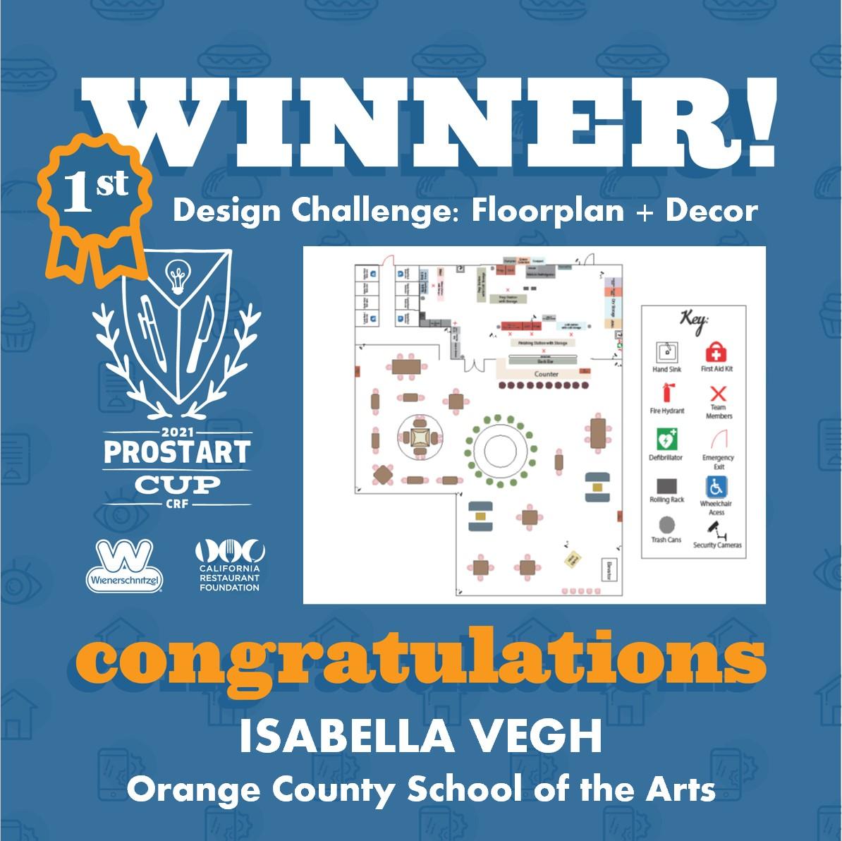2021 ProStart Winner - Design Challenge: Floorplan + Décor - 1st Place