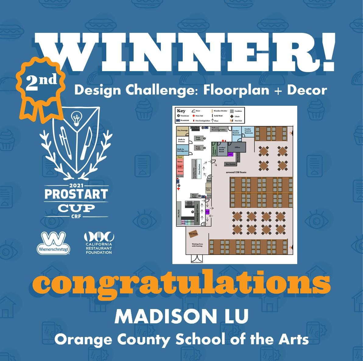 2021 ProStart Winner - Design Challenge: Floorplan + Décor - 2nd Place