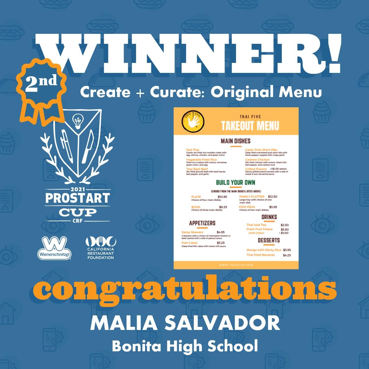 2021 ProStart Winner - Create + Curate: Original Menu - 2nd Place